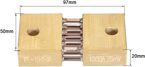 uxcell Shunt Resistor 1500A 75mV for DC Current Ammeter Analog Panel Meter External FL-19 Shunt Divider
