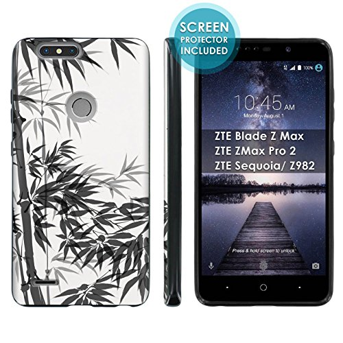 [Mobiflare] TPU Phone Cover for ZTE Blade Zmax Pro 2/ZTE Sequoia [Black] Ultraflex Gel Phone Case Screen Protector Included - [Bamboo Brush Painting] for ZTE Blade Z Max Z982 [6