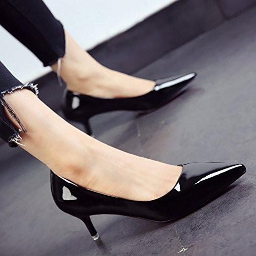 FLYRCX La primavera y el otoño zapatos damas moda patente personalidad tacones zapatos de punta fina comerciante b