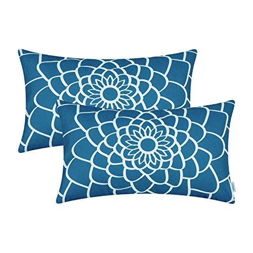 CaliTime Pack of 2 Soft Canvas Bolster Pillow Covers Cases for Couch Sofa Home Decor Dahlia Floral Outline Both Sides Print 12 X 20 Inches Sea Blue