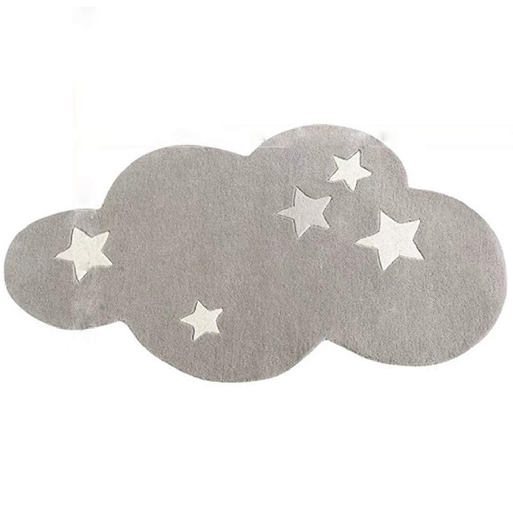 LinLiQiao Super Soft E Semplice Tappeto Creativo A Forma di Nuvola, Materiale in Fibra Chimica, Antiscivolo E Anticaduta, per Cameretta dei Bambini (80 * 120 Cm), Rosa/Grigio, 7 Misure