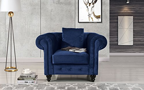 Classic Scroll Arm Large Velvet Living Room Chesterfield Accent Chair (Blue)