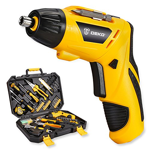 DEKO 108 Piece Tool Set-3.6V Cordless Electric Screwdriver Household Lithium-Ion Battery Rechargeable Drill with LED Light Hand Tool Kit (Cordless Screwdriver Tools)