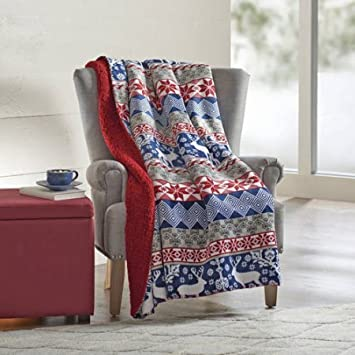 Amazon.com: Velvet Plush Reverse Sherpa Throw Blanket Fair Isle ...