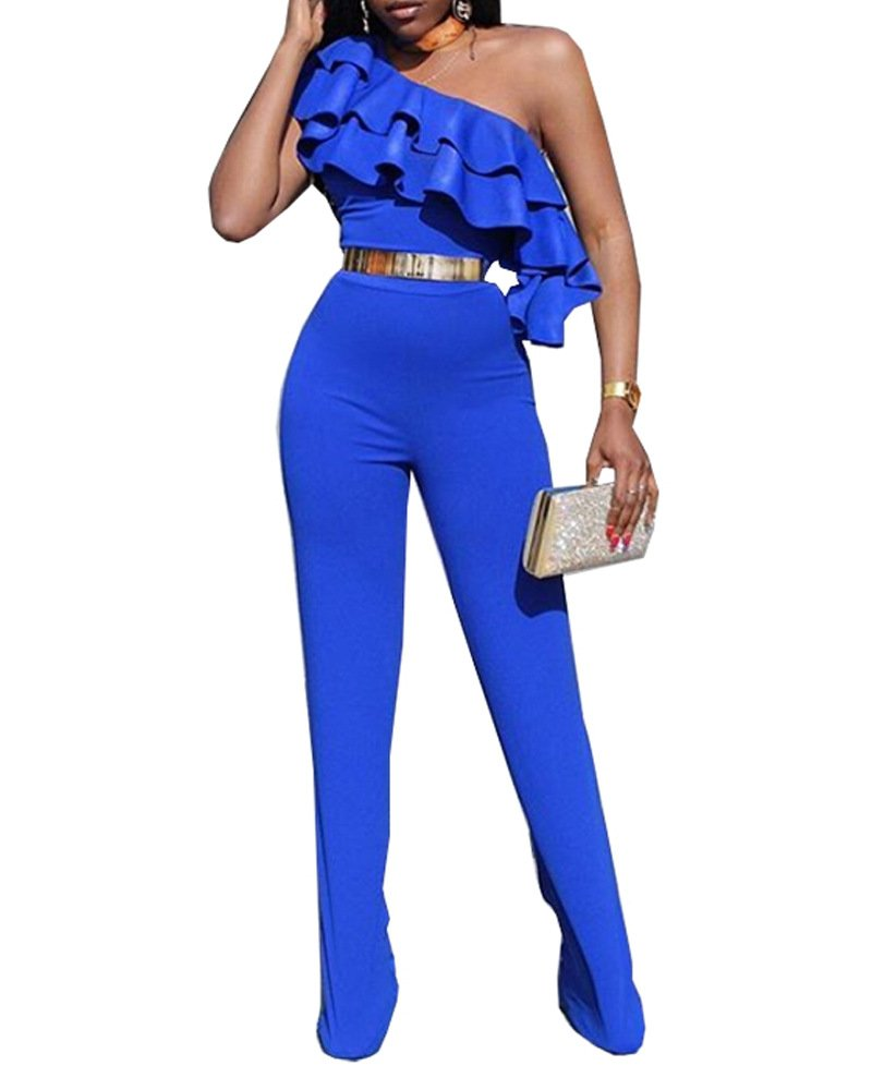 Women's Ruffles Outfits One Shoulder Jumpsuit Sexy Clubwear Rompers with Belt