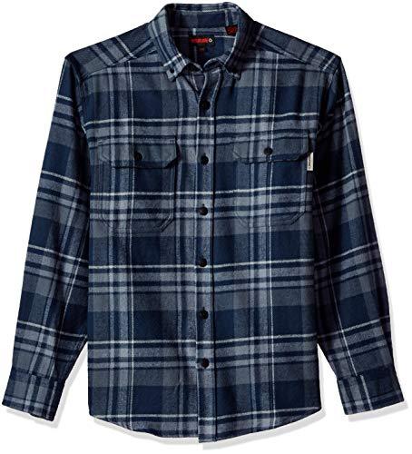 Wolverine Men's Glacier Heavyweight Long Sleeve Flannel Shirt, Dark Navy Plaid X-Large