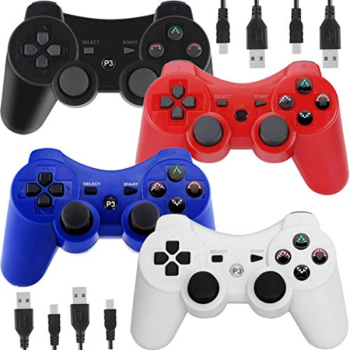 Wireless Controllers for PS3 Playstation 3 Dual Shock, Bluetooth Remote Joystick Gamepad for Six-axis with Charging Cable,Pack of 4 (Black,White,Blue,Red) (Six Guns Ps3)