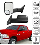 Premium Pair Set Towing Mirrors For 09-12 Dodge Ram Power Heated Convex Glass with LED Turn Signal Telescoping Extendable Arms Door Side View Tow Mirror Kit