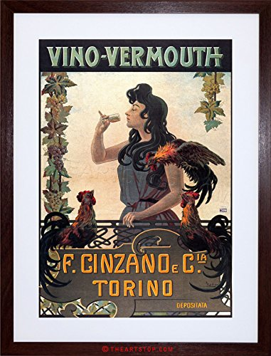 The Art Stop Food Drink Vintage AD Vermouth Cinzano Turin Italy Framed Print - Vermouth Italy