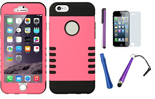 Iphone 6 [4.7 in.] Pink Black Two Layer Proective Case (Rubberized Series) With Screen Protector