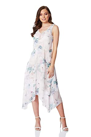 95086225 Roman Originals Women Floral Chiffon Frill Dress at Amazon Women's Clothing  store: