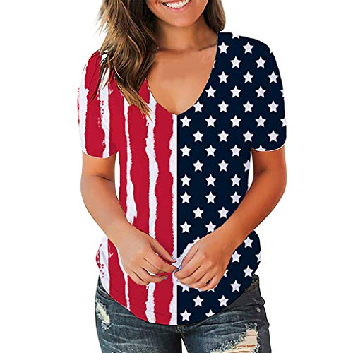 Psunrise Women American V-Neck Special Stars and Stripes Flag Printed T-Shirt Short Sleeve Blouse Fashion Casual Tees(Multicolor,XL)