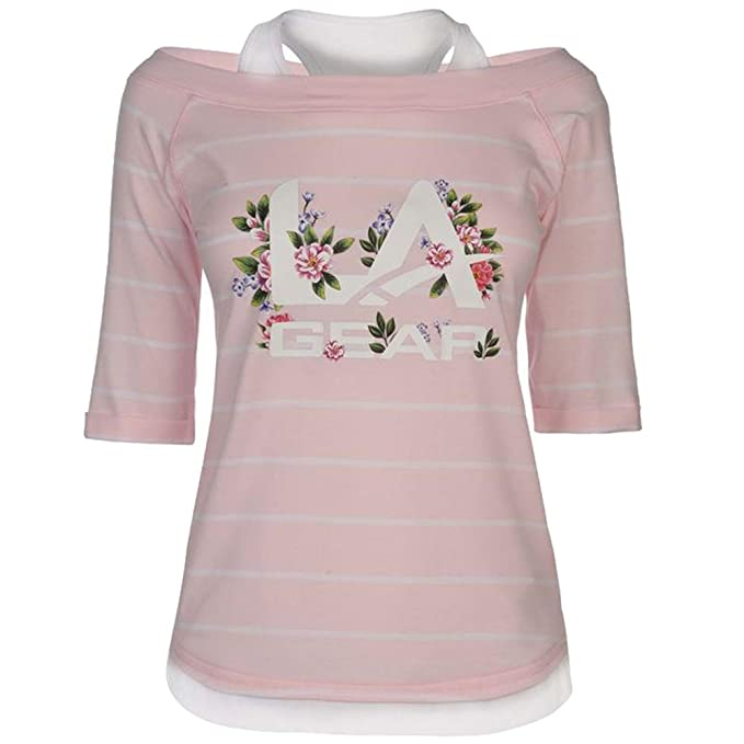 db9d0434a4959f LA Gear Ladies Lightweight 3 4 Sleeves Mock Layer T Shirt Top  Amazon.co.uk   Clothing