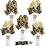 Blulu Birthday Party Decoration Set Golden Birthday Party Centerpiece Sticks Glitter Table Toppers Party Supplies, 24 Pack (40th Birthday)