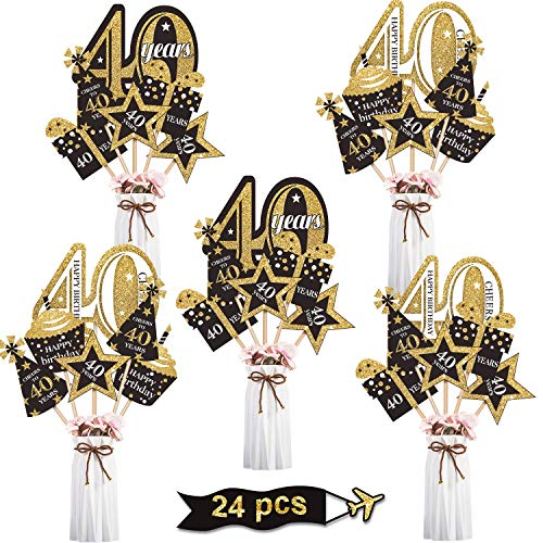 Blulu 40th Birthday Party Decoration Set Golden Birthday Party Centerpiece Sticks Glitter Table Toppers Party Supplies, 24 Pack (40th Birthday)
