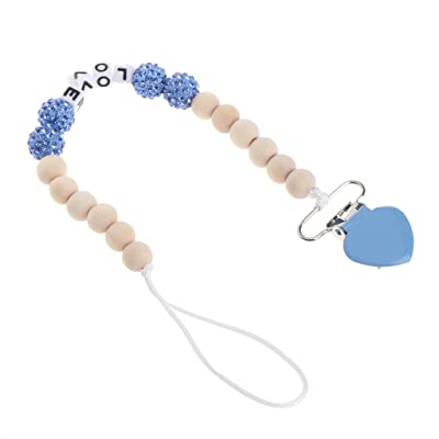 CHBC Love Heart Pacifier Chain For Nipples Pacifier Clips Chain Soother Holder Chain For baby (Blue): Toys & Games