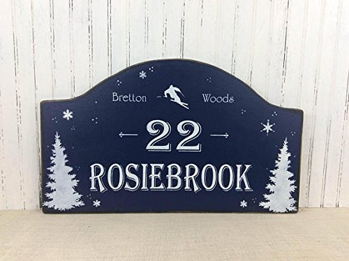 (Wood Plaque Personalized Ski House address sign, Winter Cottage decor, Ski address marker, Custom Cottage sign, Rustic Mountain sign, Christmas gift, 24