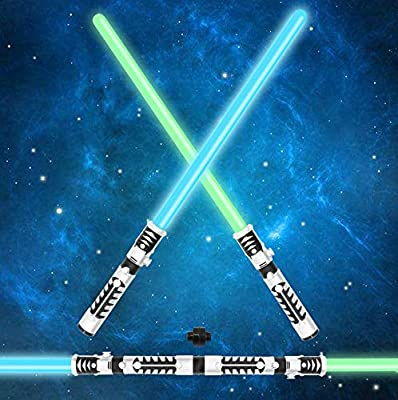 JOYIN Light Saber 2-in-1 LED Light Up FX Laser Dual Swords Set with Sound (Motion Sensitive) and Realistic Sliver Handle Stocking Idea, Xmas Presents, Galaxy War Fighters and Warriors.