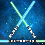 JOYIN Light Up Saber 2-in-1 LED FX Dual Laser Swords Set with Sound (Motion Sensitive) and Realistic Sliver Handle Stocking Idea, Xmas Presents, Galaxy War Fighters and Warriors