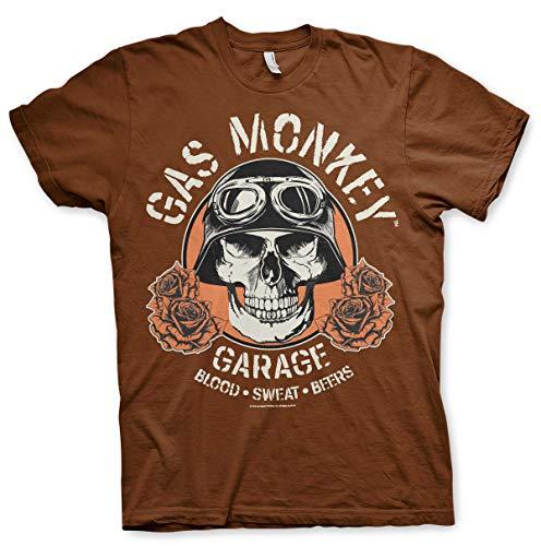 Gas Monkey Garage Officially Licensed Skull Mens T-Shirt (Brown), Large