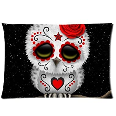 Cute Red Day of the Dead Sugar Skull Owl Stars Zippered Pillow Case 20x30 (one sides)