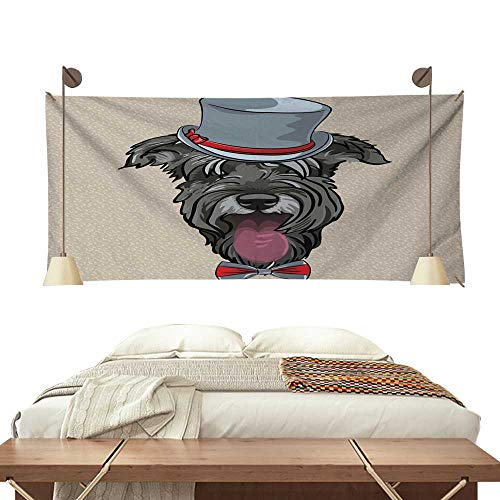 Anyangeight Colorful Tapestry Vector Funny Cartoon Hipster Dog Schnauzer 72W x 54L Inch