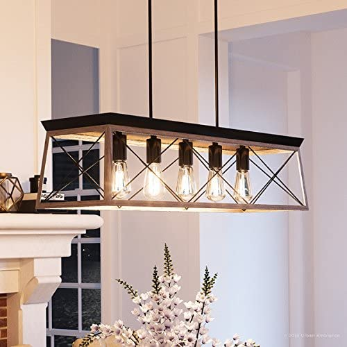Luxury Industrial Chic Island Linear Chandelier, Large Size 9 H x 38 W, with Modern Farmhouse Style Elements, Charcoal Finish, UHP2127 from The Berkeley Collection by Urban Ambiance