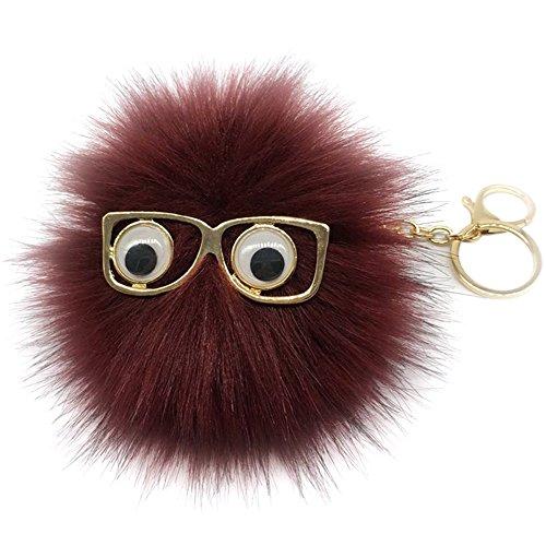 BAOBAO Cute Sunglasses Rabbit Fur Fluffy PomPom Ball Pendant Keychain Car - Ball Sunglasses 8