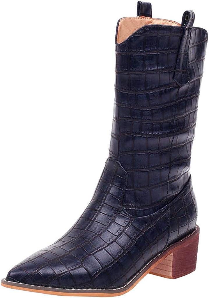 Ashui Motif Crocodile avec Bottillons Pointus Botte de