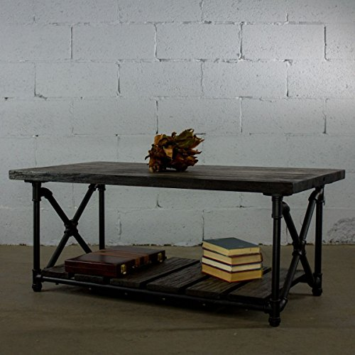 FURNITURE PIPELINE Houston Industrial Chic Rectangle Coffee Cocktail Table Metal Pipe Frame with Reclaimed Aged Finish and Solid Sustainable Wood (Dark Brown Stained Wood) ()