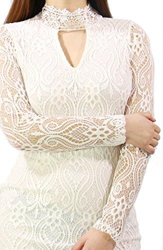 Fandsway Women's Lace Semi Turtle Neck Bodycon Long Sleeve Dress (MEDIUM, WHITE)