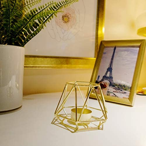 HÖKI+ Set of 2 Gold Geometric Metal Tealight Candle Holders for Living Room & Bathroom Decorations - Centerpieces for Wedding & Dining Room, Coffee Side Tables Decor - Holiday & Birthday Gifts 6