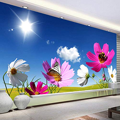 HNFSZBB Fantasy Chrysanthemum Flowers Photo Wallpaper 3D Blue Sky Sunshine Pastoral Mural Living Room Backdrop 300cm(W) x 200cm(H) (9'10