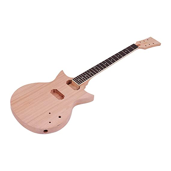 Festnight DIY Kit de Guitarra Eléctrica, Accesorios de Guitarra No Terminados Pastilla del Diapasón Cuerpo de Guitarra de Caoba Cuello: Amazon.es: ...