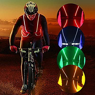 Reflective Safety Led Vest and Belt with High Visibility Flashing and Multicolored Led Fiber Optics- for Running, Walking, Cycling - Adjustable, Lightweight, Waterproof
