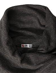 H2H Mens Casual Turtleneck Slim Fit Pullover Sweater Oblique Line Bottom Edge CHARCOAL US M/Asia L (KMTTL046)