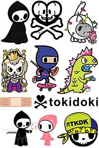 Tokidoki Cartoon Skateboard Snowboard Luggage Vinyl Car Stickers in one A4 Page Code F0064