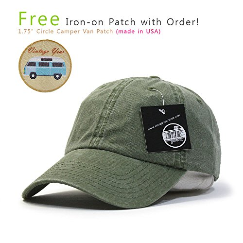 Plain Washed Cotton Twill Baseball Cap with Adjustable Velcro (Olive (Flex Fit Embroidered Visor)