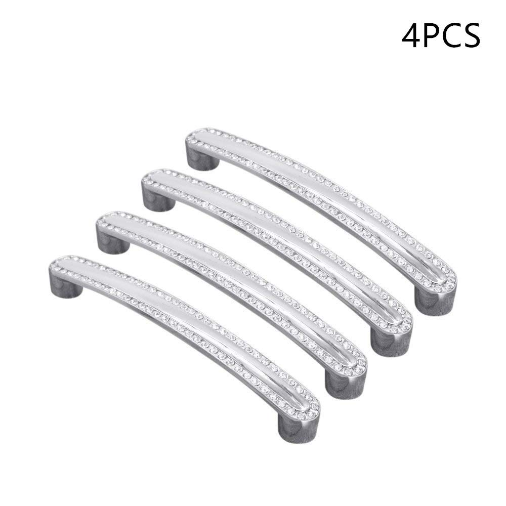 Lvcky 4Pcs Crystal Diamond Cabinet Handles Hardware Cupboard Drawer Handle Pulls Set Furniture 128mm Hole Centers-128mm/5Inch