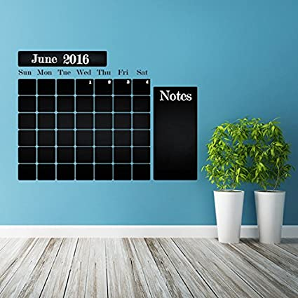 (47 x 35)  Chalkboard Vinyl Wall Decal Calendar with Notes / Blackboard Month Planner Sticker for Drawing / Erasable Mural + Free Crayons Box