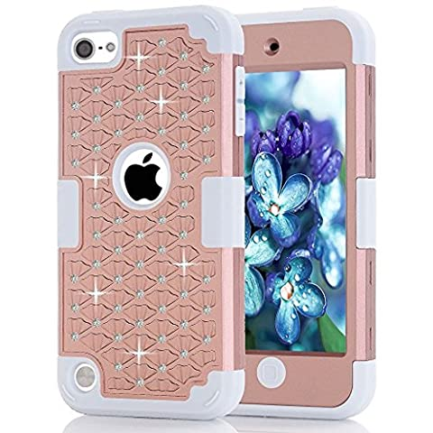 iPod Touch 5 Case,iPod Touch 6 Case, ZMKH Rhinestone Bling Frame Hybrid Armor Dual Layer Hard PC & Soft Silicone Protective Skin for Apple iPod Touch 5 / iPod Touch 6(Rose Golden / (One Direction Ipod 5 Custom Case)