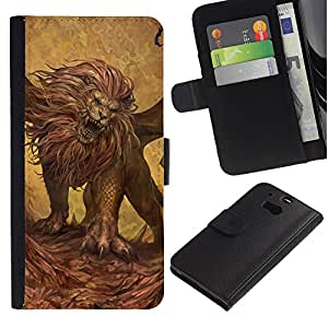 Be-Star la tarjeta de Crédito Slots PU Funda de cuero Monedero caso cubierta de piel Para HTC One M8 ( Lion Roaring Art Wild Animal Big Cat Painting )