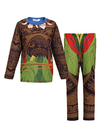 Moana Little Boys 2 Piece Set Pjs Pajamas for Maui Clothes, Long Sleeves - 7-8 Years