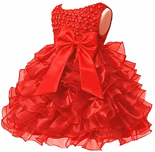 Baby Girl Dresses Ruffle Lace Pageant Party Wedding Flower Girl Dress (Margarite Scarlet(Red), 5-6 Years)