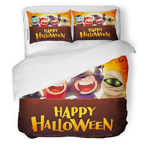 SanChic Duvet Cover Set Happy Halloween Party Group of Kids in Costumes Decorative Bedding Set with Pillow Case Twin -