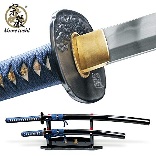 Munetoshi Water Dragon Handmade 2 Pcs Daisho Set Samurai Katana Wakizashi Sword 1060 Spring Steel with Deluxe 2 Tier Stand