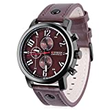 Megadream Men's Sports Classic Casual Quartz Analog 30M Water Resistant Watch, Leather Band Strap and Stainless Steel Case Cover Wristwatch – Brown