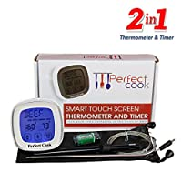 Perfect Cook - Digital Touch Screen Oven Meat Thermometer & Timer, with Best Stainless Steel Probe to Leave in Oven, BBQ Cooking, Grilling, Turkey or Smoker And Easy to Use Countdown Kitchen Timer