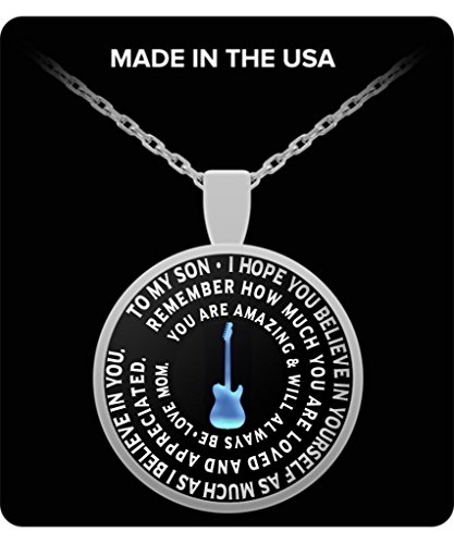 Guitarist Son Necklace From Mom - Personal Gift Pendant From Mother - Guitar Charm - Silver