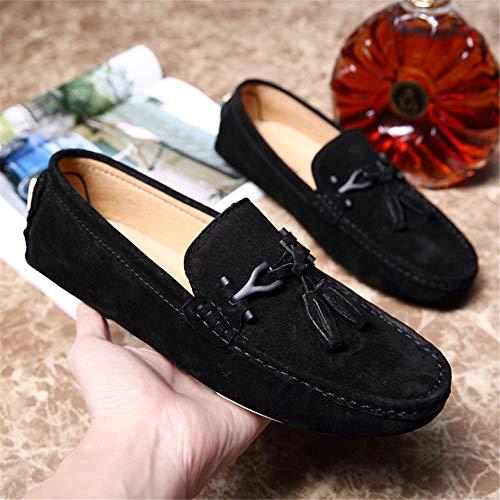 de Plana Ante de Zapatos de Vamp Genuino de Mocasines Mocasines los Hombres Gamuza Cuero Negro zUqwWWaPp
